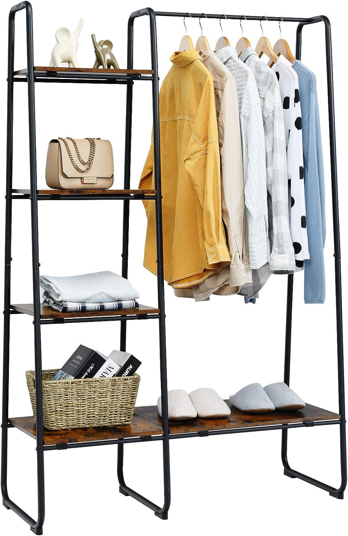 Tangkula Metal Garment Rack, Free Standing Closet Storage Organizer w/ 5 Shelves & Hanging Bar, Open Wardrobe Rack for Hanging Clothes and Storage, Clothes Rack for Bedroom Living Room Entryway