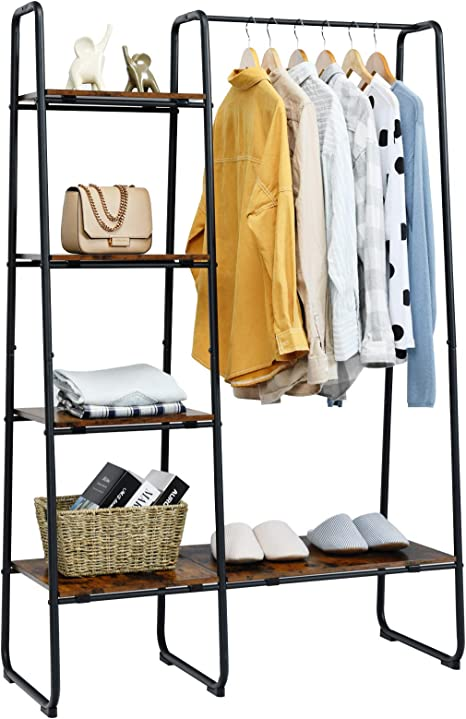 UDEAR Metal Garment Rack,Freestanding,Open Wardrobe Closet Storage Organizer,with 2 Shelves Clothes Hanging Rack Stand for Clothes,Shoes Bags,in Entryway,Room,Space Saving,Black