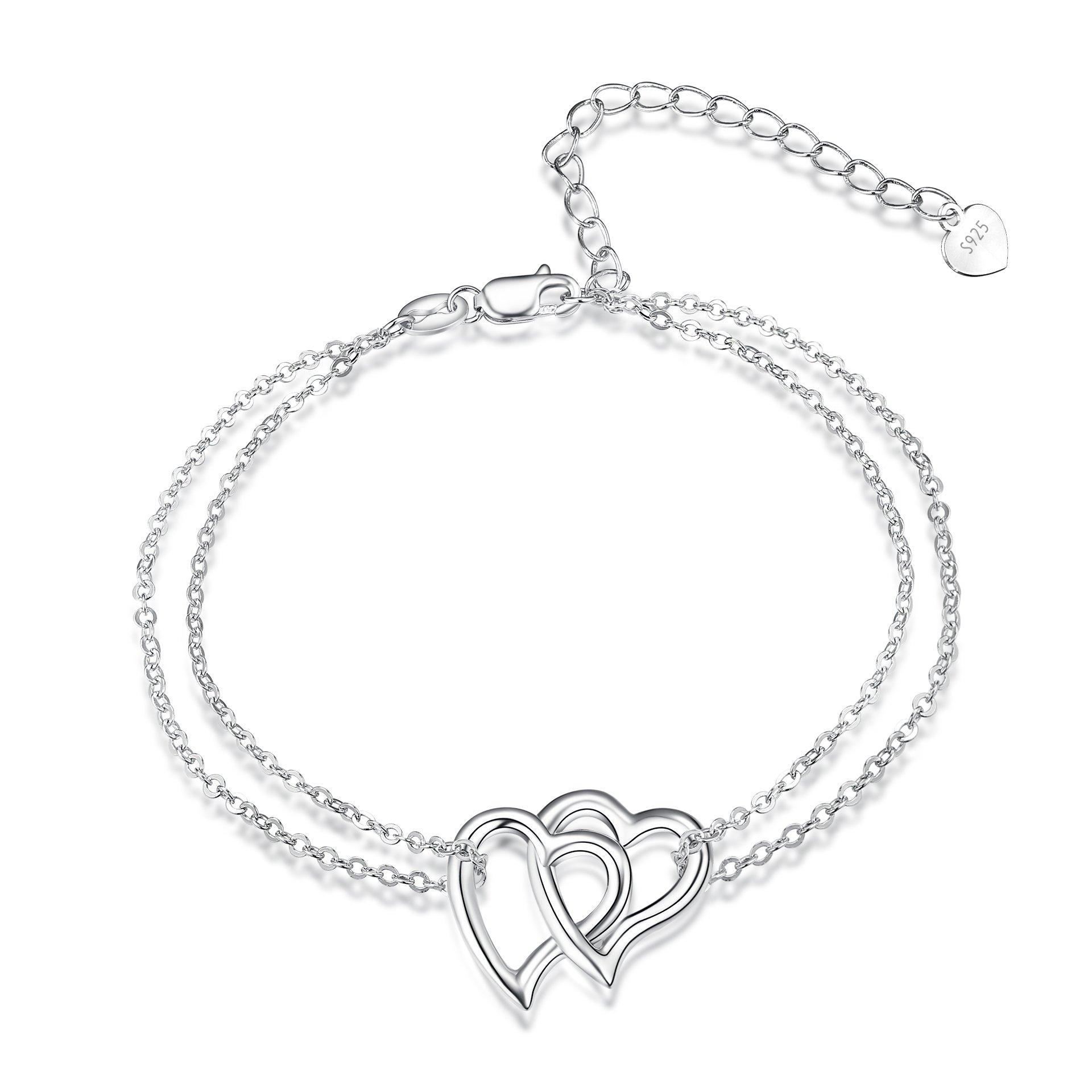 POPLYKE Heart Bracelet Sterling Silver Adjustable Double Heart Link Chain Bracelets for Women Girls