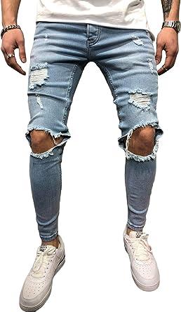 Bmeig Jeans Hombres Rotos Slim Fit Ripped Estiramiento Rodilla Destruido Flaco Denim Apenado Biker Jeans Disenador Clasico Orificios Hip Hop Pantalones De Trabajo Otono Invierno M 3xl Amazon Es Ropa Y Accesorios