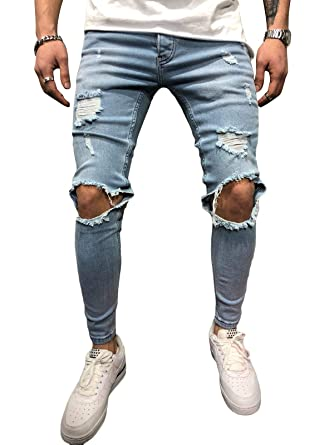 BMEIG Jeans Hombres Rotos Slim Fit Ripped Estiramiento Rodilla Destruido Flaco Denim Apenado Biker Jeans Diseñador Clásico Orificios Hip Hop ...