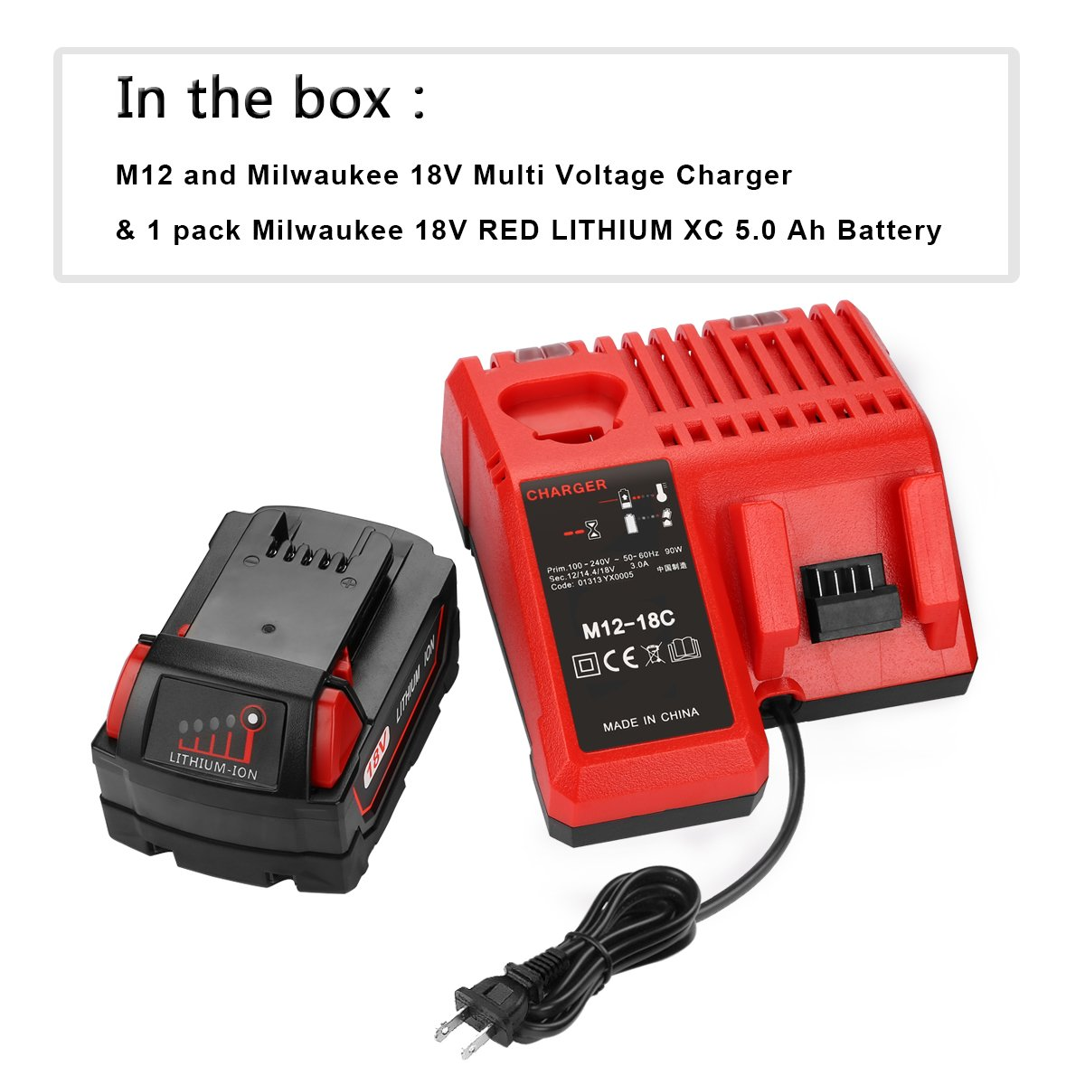 antrobut 18v 5000mah replacement for milwaukee 18volt red lithium xc 5 0 ah battery 1 pack milwaukee 12v 18v xc starter kit lithium ion battery rh amazon com