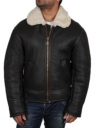 1c9f50a70d28 Brandslock homme Bomber blouson veste en peau de mouton d origine cuir  vintage Aviateur  Amazon.fr  Vêtements et accessoires