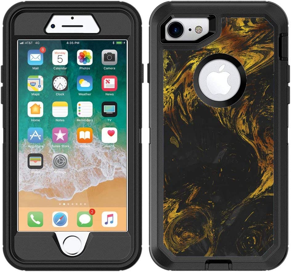 Teleskins Protective Designer Vinyl Skin Decals/Stickers Compatible with Otterbox Defender iPhone 8 & iPhone 7 & SE 2020 Case -Black Gold Marble Design Patterns - Only Skins and Not Case