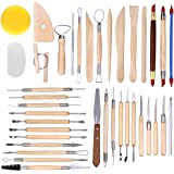 Caydo 38 Pieces Wooden Pottery Sculpting Clay Cleaning Tool Set