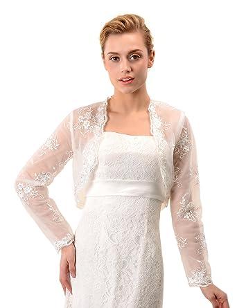 Topwedding Embroidered Ivory Tulle Wedding Bolero Long Sleeves ...