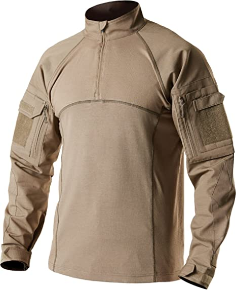 CQR TOS201 Camiseta Militar de Combate de Rendimiento UPF 50+ para Hombre