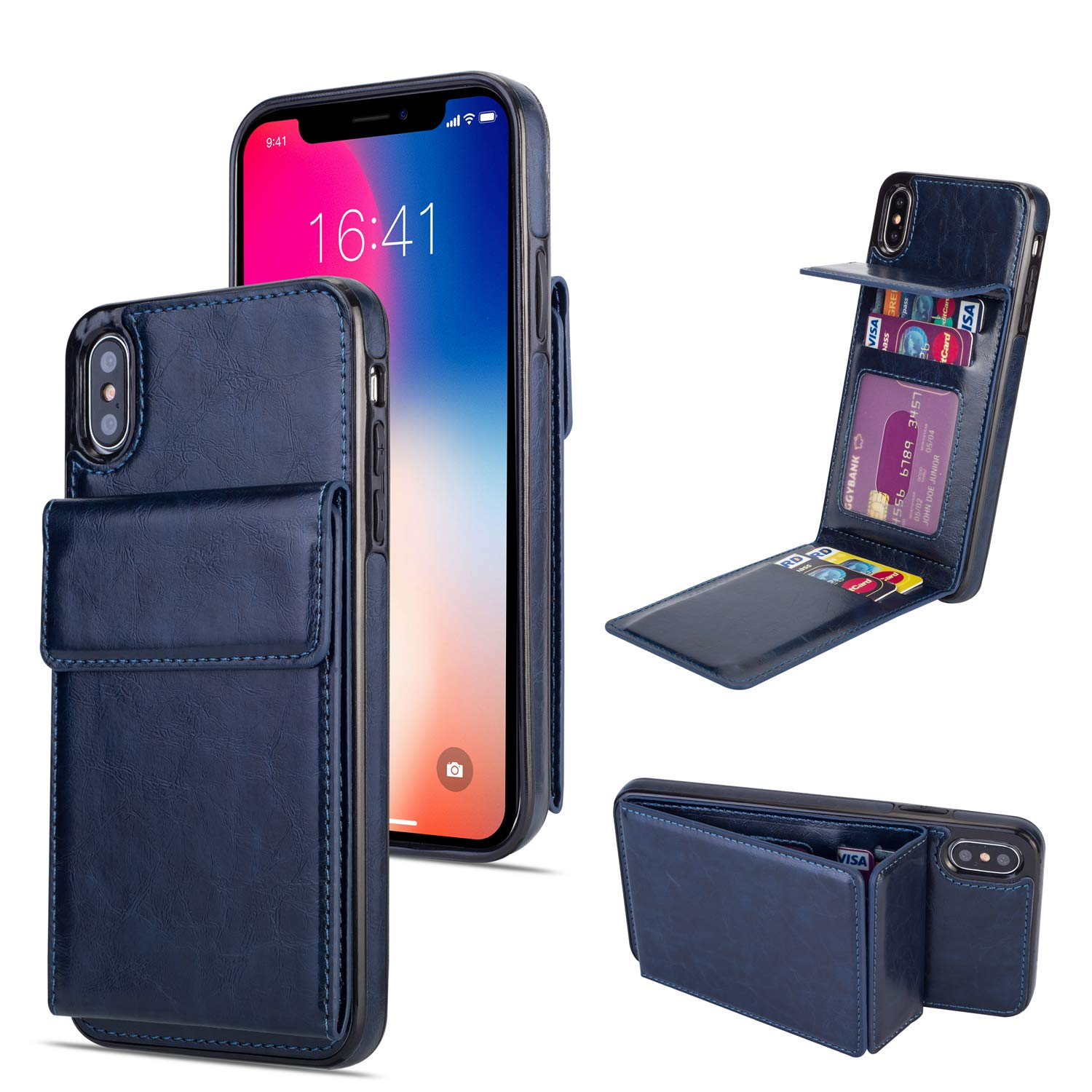 DAMONDY Wallet Case for iPhone Xs Max,Luxury Wallet Purse Card Holders Design Cover Soft Shockproof Bumper Folio Flip Leather Kickstand Case for iPhone Xs Max (2018) 6.5 Inch-deep Blue by DAMONDY