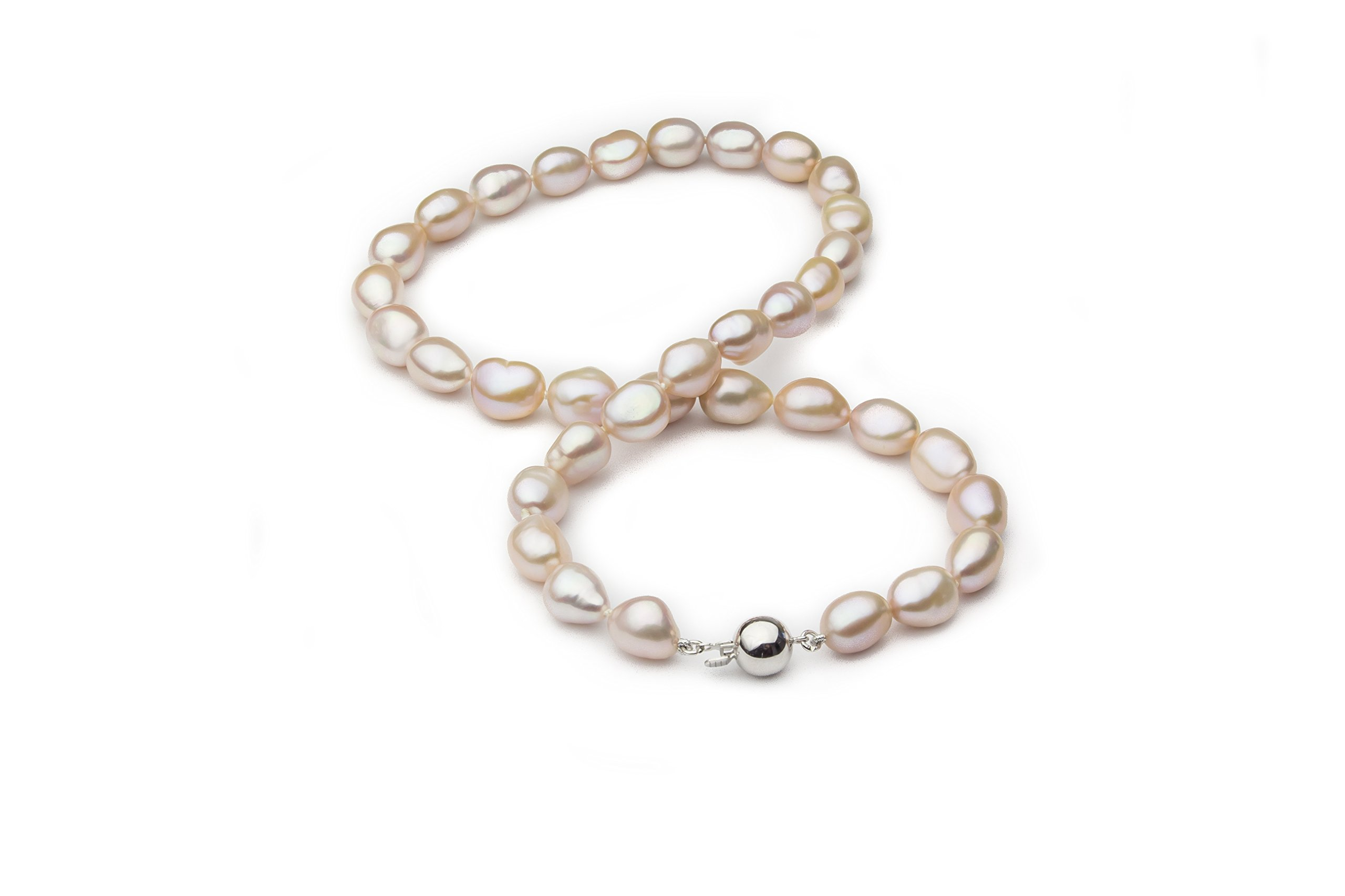 HinsonGayle AAA Handpicked 10-11mm Pink Baroque Freshwater Cultured Pearl Necklace (Silver )-18 in length by HinsonGayle Fine Pearl Jewelry (Image #3)