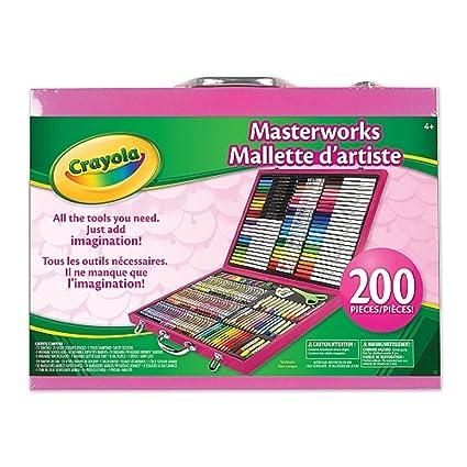 amazon com crayola pink 200 piece masterworks art case toy toys
