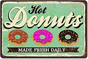 """MNUP Hot Donuts, Kitchen Decorative, Diner, Cafe Vintage Unique Home Wall Decor Tin Sign 7.87""""x 11.81"""" XUE009"""