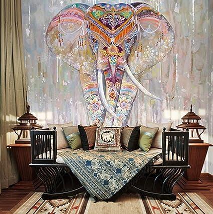 Papier Peint Mural Poster Géant 3D Éléphant Coloré Luxe ...
