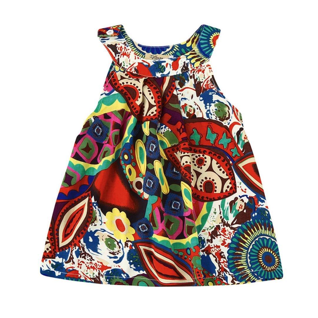 Iuhan Floral Toddler Baby Kids Girls Bohemian Princess Dress Beach Sundress Clothes