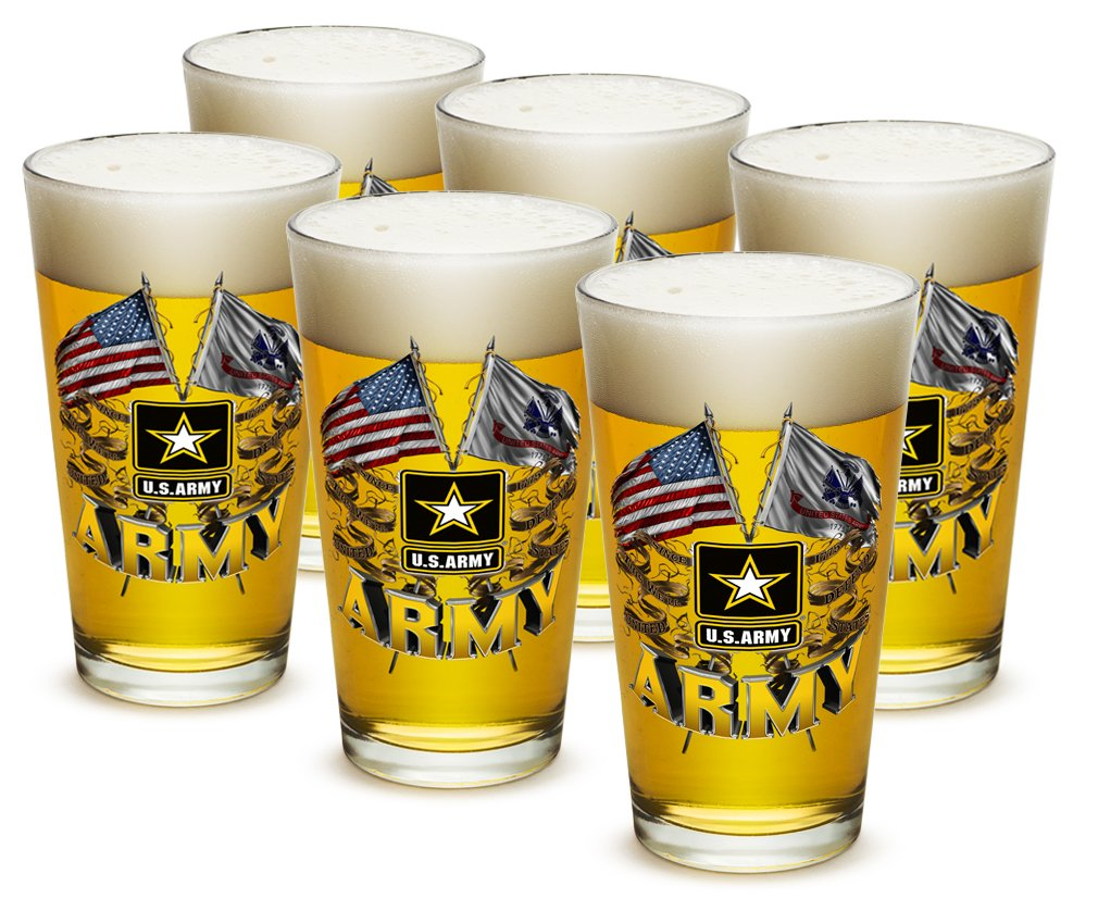 Pint Glasses - Armed Forces Gifts for Men or Women - Army Men American Beer Glassware - Double Flag US Army Beer Glasses with Logo - Set of 6 (16 Oz)