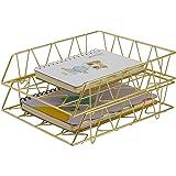 PAG Desktop File Organizer Metal Stackable Letter Tray Paper Holder Rack, 2 Pack, Gold