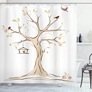 "Ambesonne Tree of Life Shower Curtain, Mature Apple Tree with Fying Birds and The Nest Fruit Family Nature Food Image, Cloth Fabric Bathroom Decor Set with Hooks, 70"" Long, White Tan"