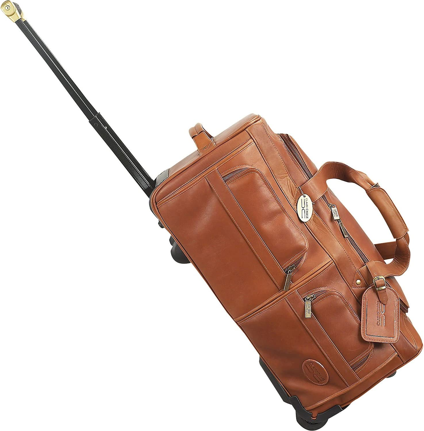 Claire Chase Leather Rolling Duffel Bag in Saddle