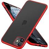 iPhone 11 ケース 半透明 マット加工 tpu シリコン 軽量 磨り表面 指紋防止 スリム 薄型 6.1インチ 耐衝撃 黄変防止 一体型 人気 携帯カバー レッド
