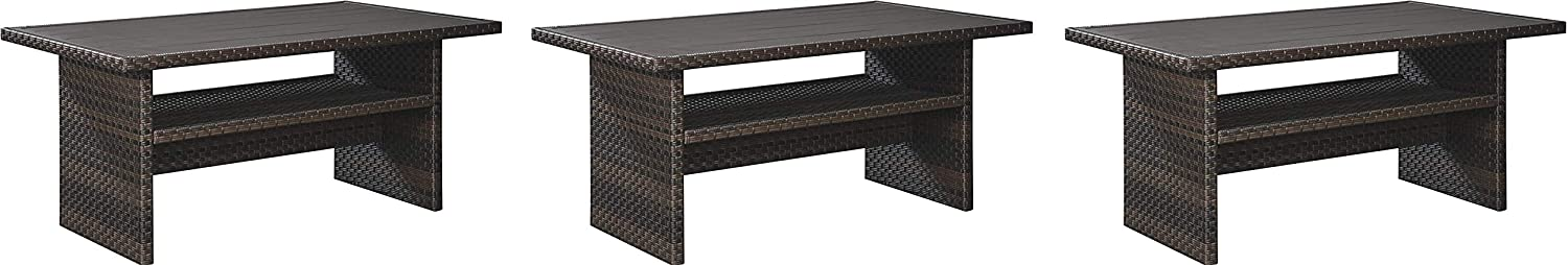 Signature Design by Ashley P455-625 Easy Isle Multi-Use Table, Dark Brown/Beige (Pack of 3)