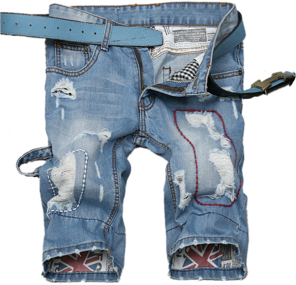 K3K Mens Stylish Destroyed Ripped Holes Shorts Rugged Wear Straight Denim Jeans