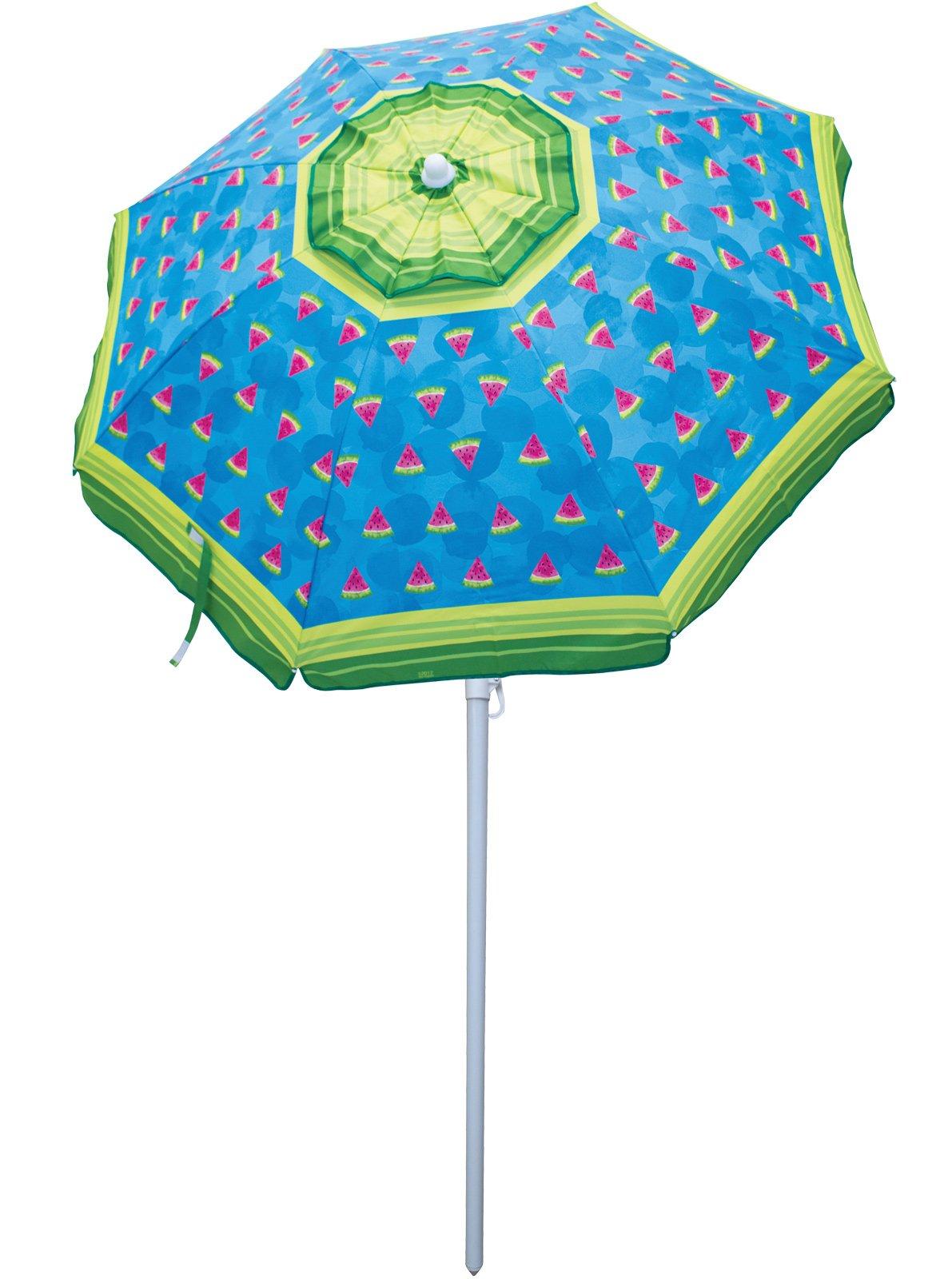Rio Beach 6' Beach Umbrella with Sun Block, Watermelon