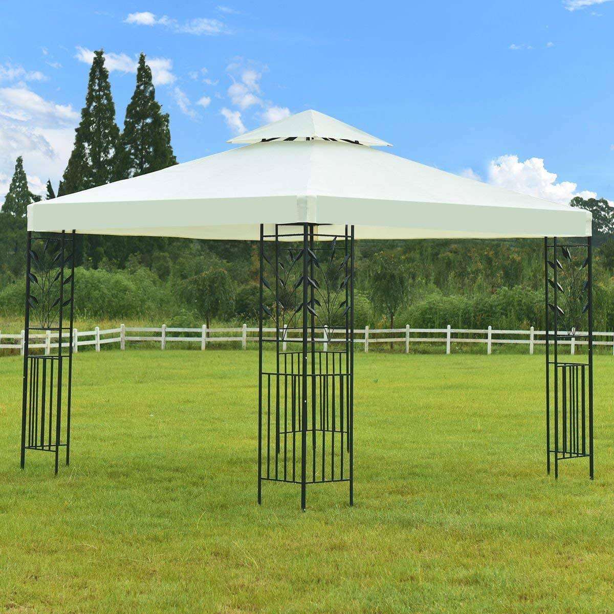 Tangkula 2 Tier 10x10 Patio Gazebo Canopy Tent Steel Frame Shelter Awning W//Side Walls