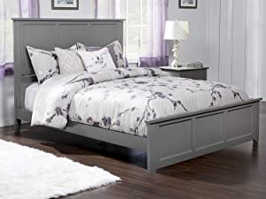 Atlantic Furniture Madison Traditional Bed with Matching Foot Board, Queen, Grey