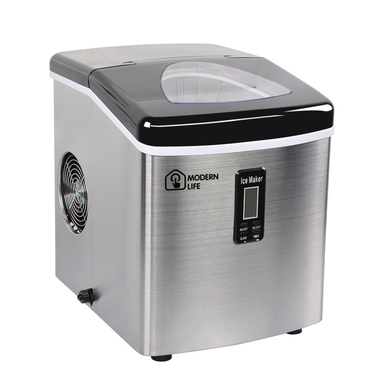 Modern Life Eismaschine für Eiswürfel Eiswürfelmaschine, Edelstahl, 3,2L, 15kg Eis in 24 Stunden, 9 Eis pro 6 Min, 3 Eiswürfel-Größen S/M/L, Produktionszeit 6 - 12 Minuten, 95W, Neues Kompaktes Modell, Kein Wasseranschluss Erforderlich