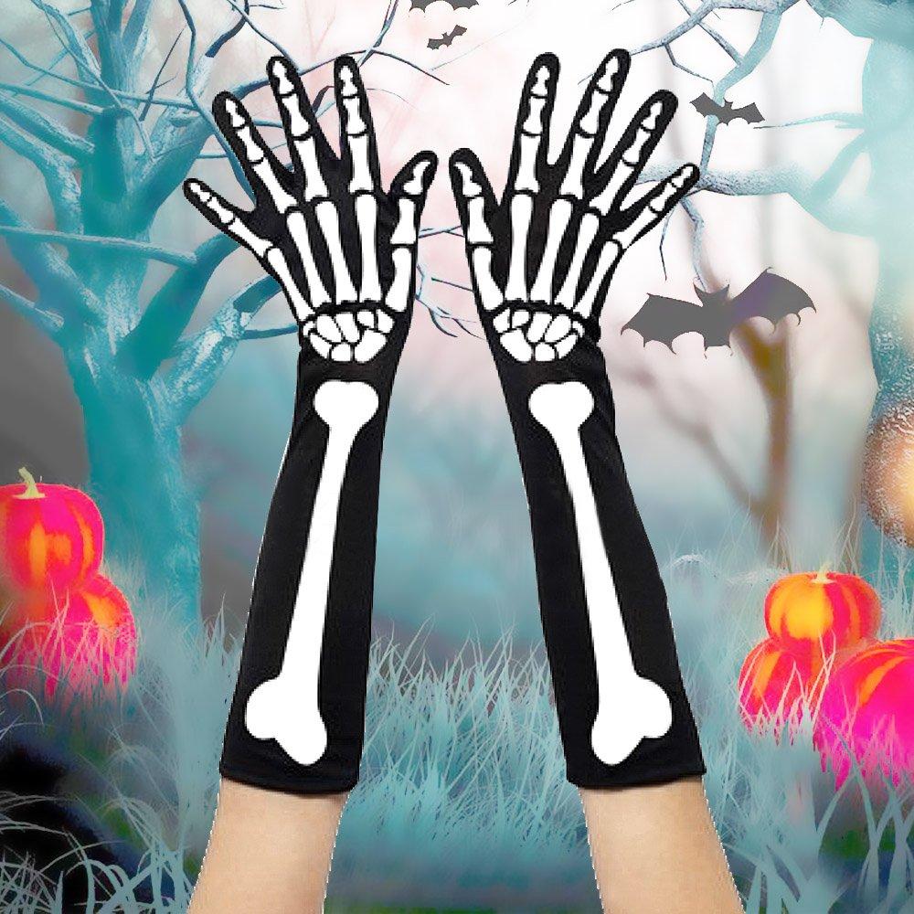 Kangkang@ 1組 女性パンク ゴシック ホワイト ハロウィン スケルトン 手袋 コスプレ ファンシードレス装飾アクセサリー B075M3Y37B