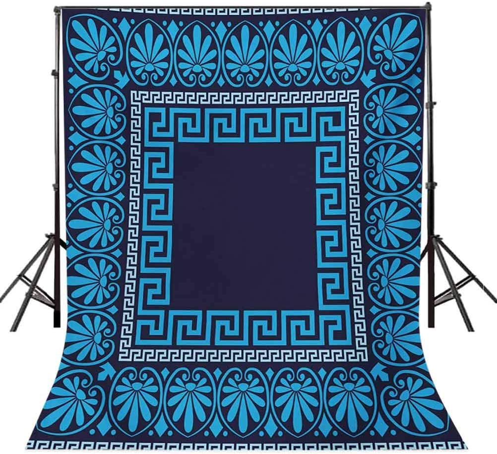 8x10 FT Photo Backdrops,Grecian Meandros Pattern with Intricate Lines Floral Figures in Blue Shades Background for Kid Baby Boy Girl Artistic Portrait Photo Shoot Studio Props Video Drape Vinyl