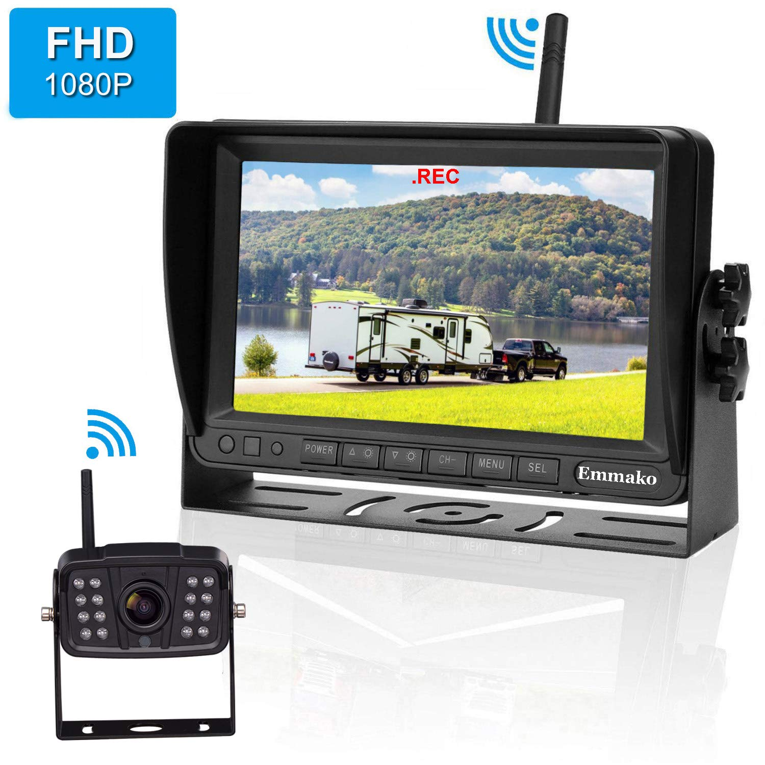 Emmako FHD 1080P Digital Wireless Backup Camera With 7'' DVR Monitor Support Split/Quard Screen  For Trailers,RV,5th Wheels High-Speed Observation System Adjustable Rear/Front View, Guide Lines ON/Off by Emmako
