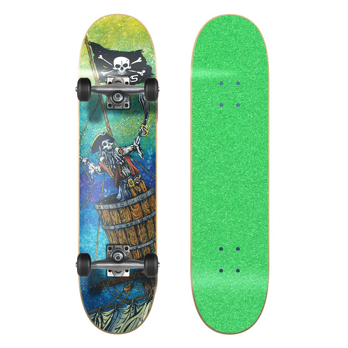 人気TOP SkateXS ビギナー 海賊 7.4 Wheels ストリート スケートボード B01MRTK3ZT 7.4 x Tape 30 (Ages 11-12)|Green Grip Tape/ Black Wheels Green Grip Tape/ Black Wheels 7.4 x 30 (Ages 11-12), 大和高田市:124f274f --- a0267596.xsph.ru