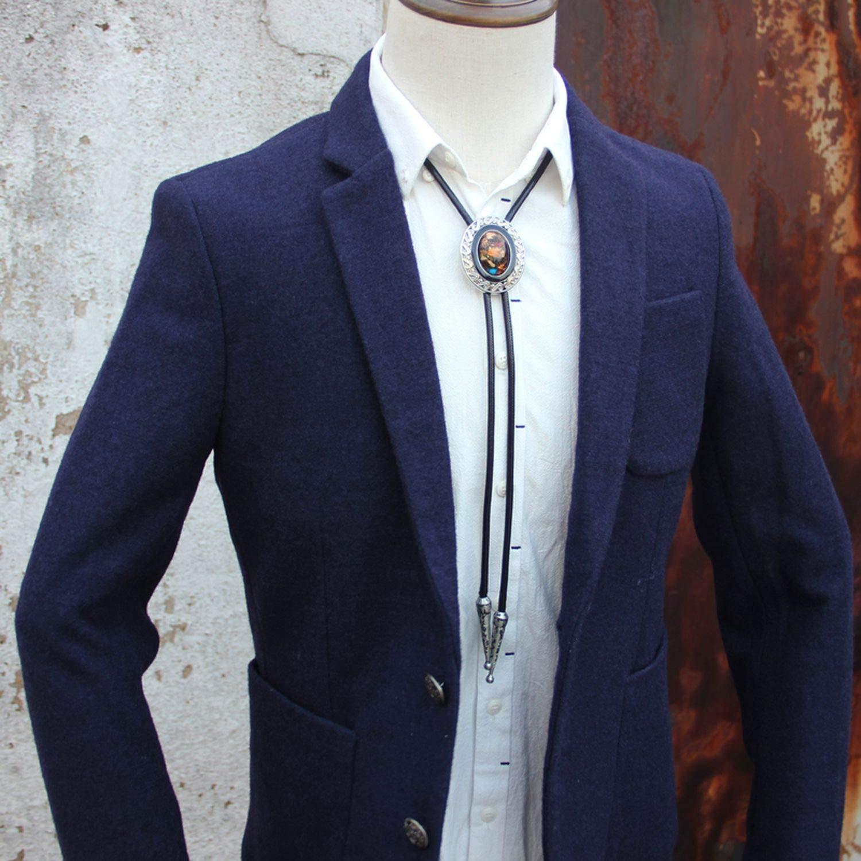 JIA-WALK Designer Alloy Collet Colorful Stone Tie for Men Personality Neck Tie Fashion Accessory Colorful