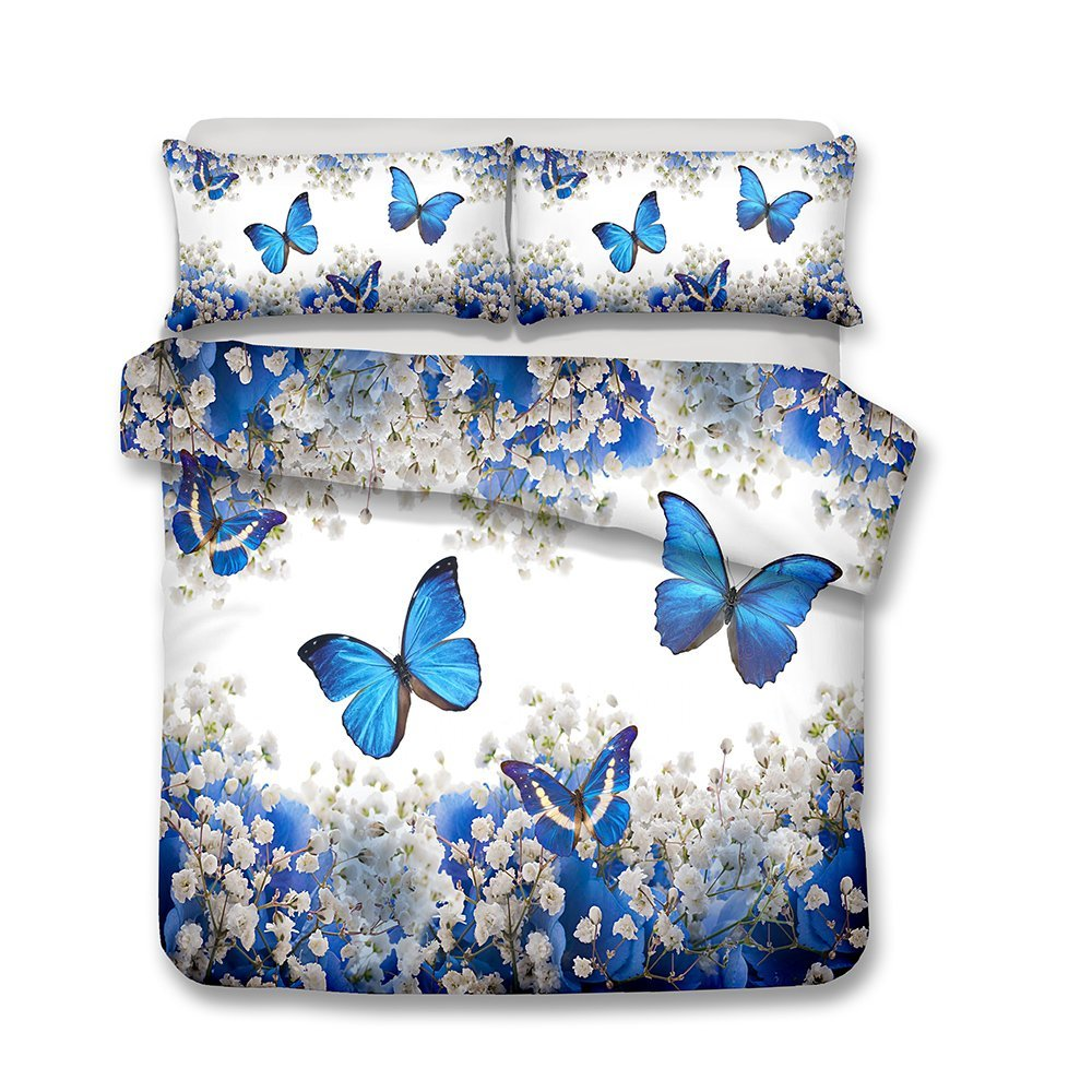 Damara Beautiful Purple fflower and Butterfly Series 3D Bedding Set Print Duvet Cover Set Lifelike Bed Sheet Without Any Filling(2, Queen)