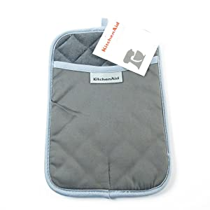 KitchenAid Cotton Pot Holder, Microfiber Lined, Printed Grid Silicone Grips (Charcoal)