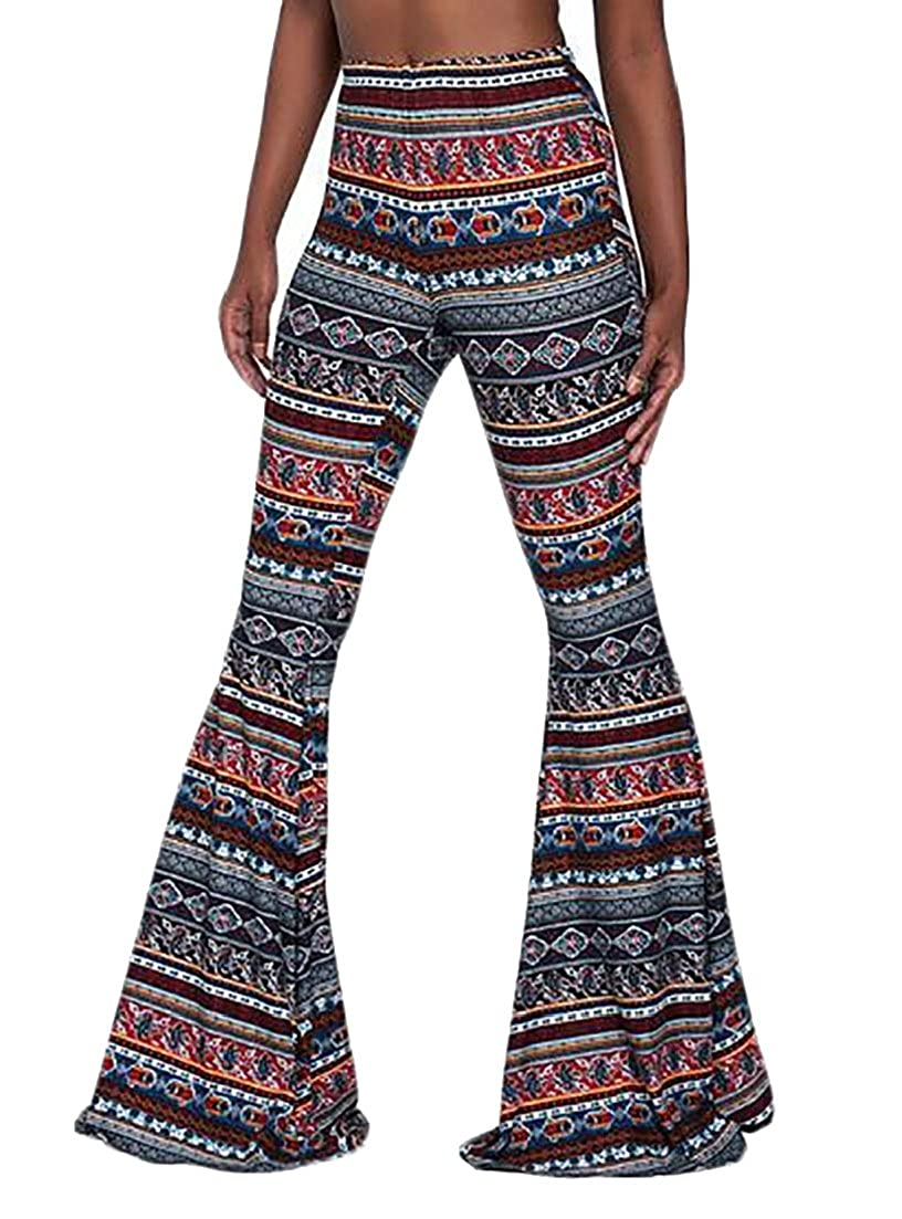 a17e2004f5ac ainr Women Sexy Stretchy Soft Boho Print High Waist Flared Bells Floor-Length  Pants at Amazon Women's Clothing store:
