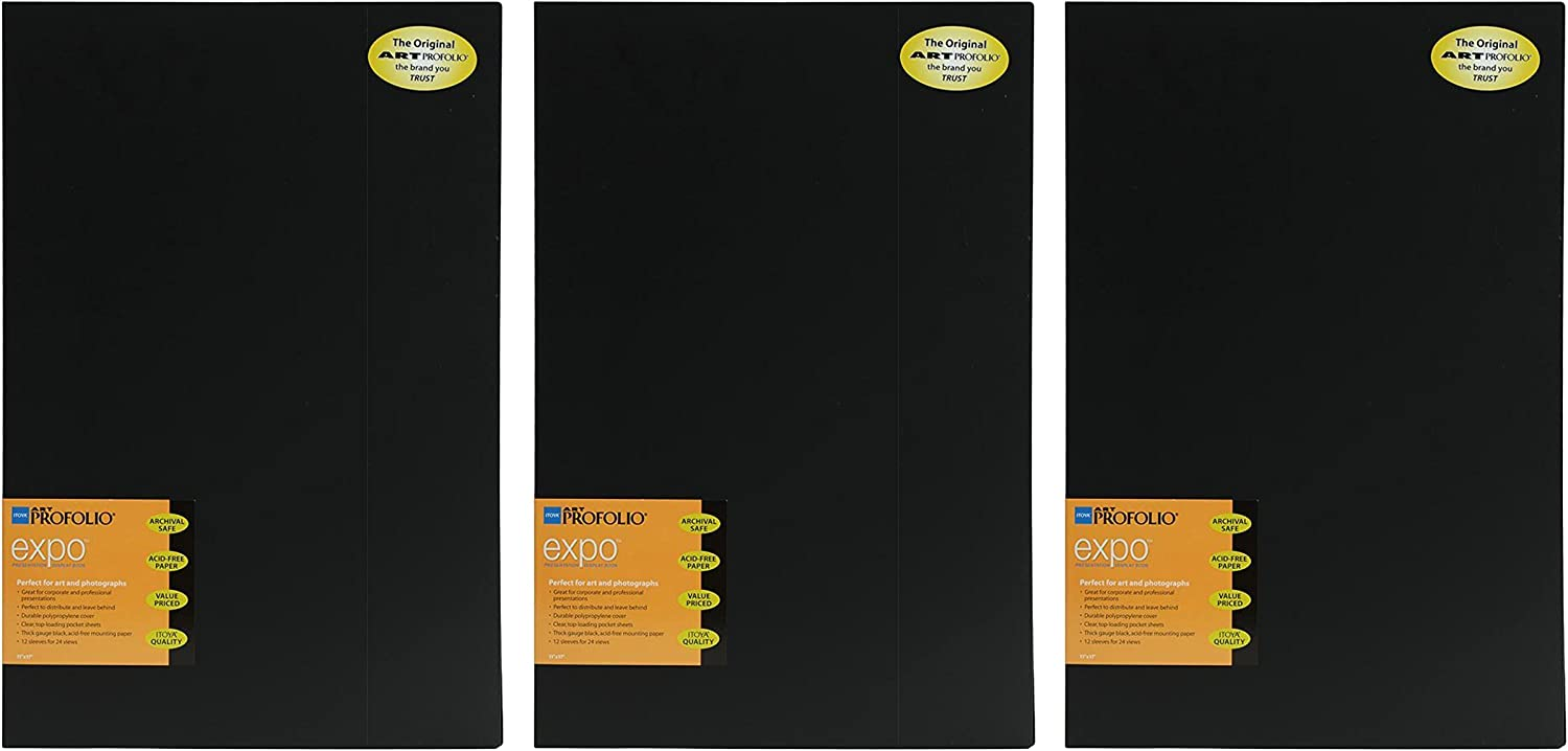 Itoya XP-12-12 Art Profolio Expo 11x17in. Art Size 12 PAGE/24 View Design Black (3 Pack)