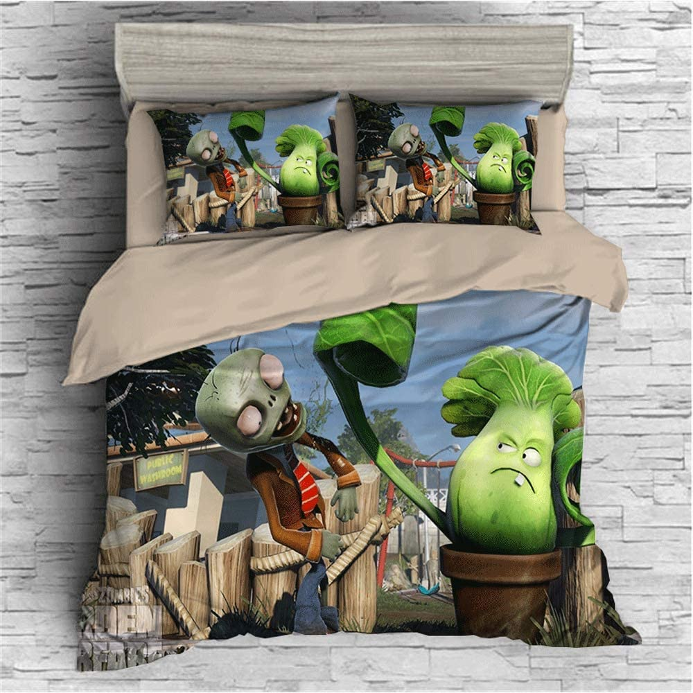 3D Plants vs Zombies Bedding Set for Kids Game Topic Duvet Cover Set 100% Microfiber Best Gifts Girls Boys Bed Set 3 Pieces 1 Duvet Cover+2 Pillow Shams Style7 Twin