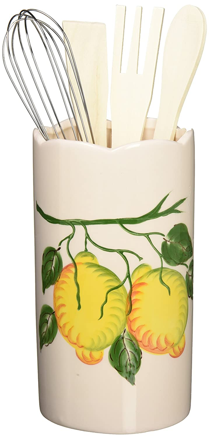 Lorren Home Trends Lemon Design Utensil Holder, Yellow L1068