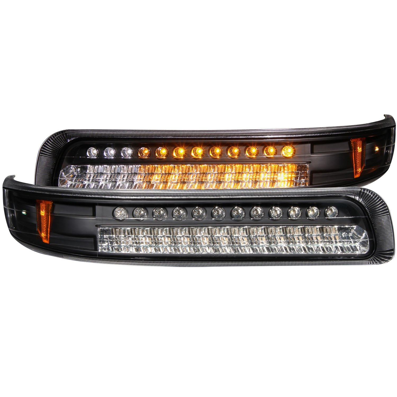 Anzo USA 511055 Chevrolet Silverado Black LED w Parking Light Assembly //Amber Reflectors Sold in Pairs