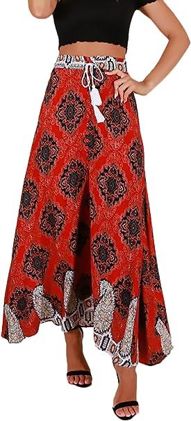 Faldas Mujer Verano Elegante Cintura Alta Impresión Floral ...