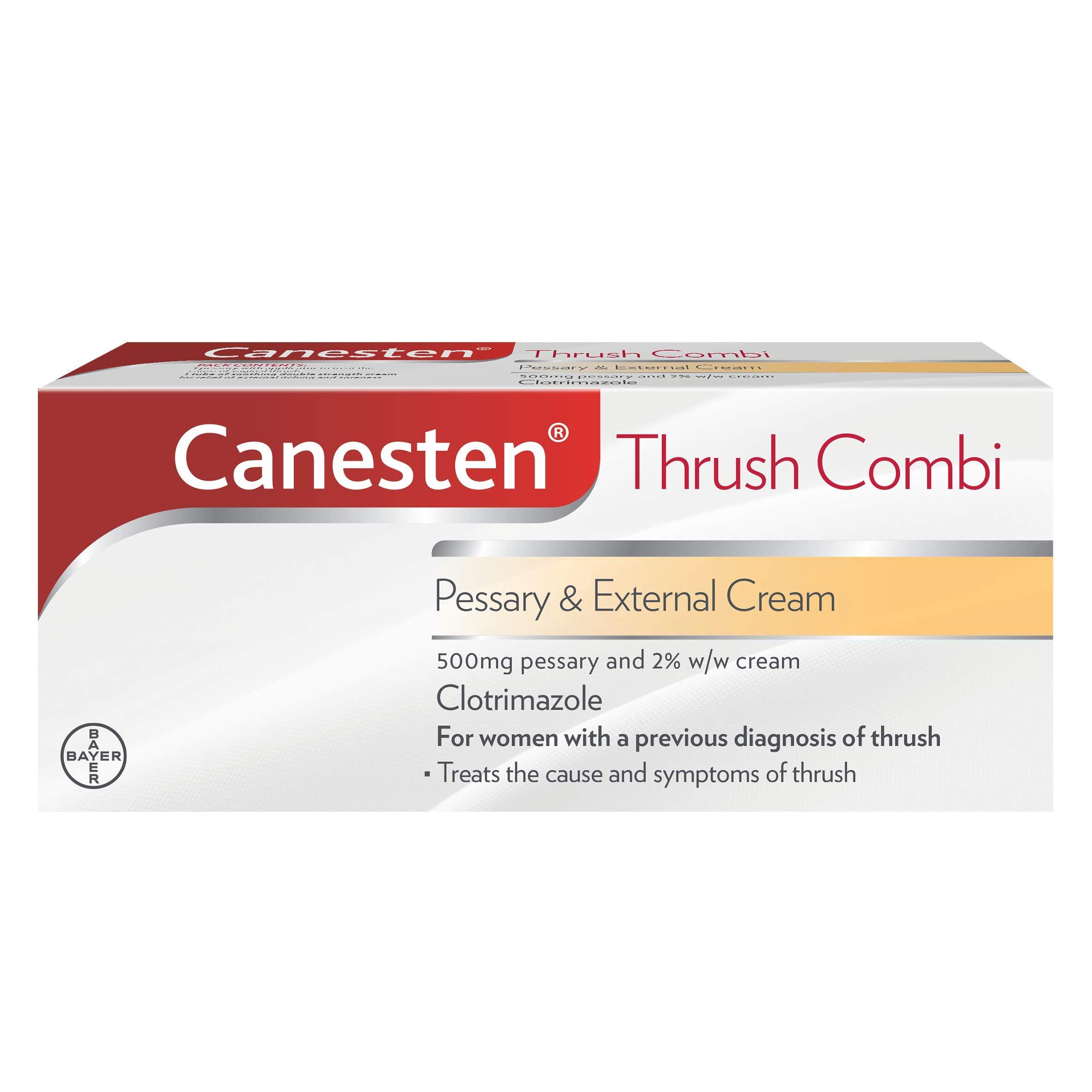 Canesten Thrush Combi Pessary & External Cream | Clotrimazole | Thrush Treatment | Complete Two-Step Thrush Treatment