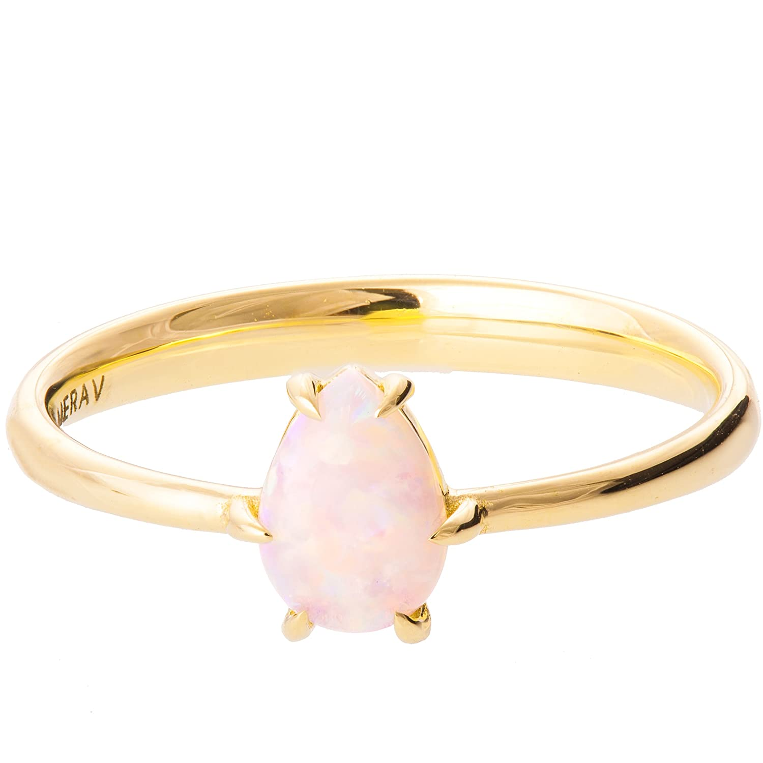 e42bc07e115eee 18K Gold Opal Ring Promise Band For Women Engagement Set Australian Natural  Pear Cut Solitaire | Amazon.com