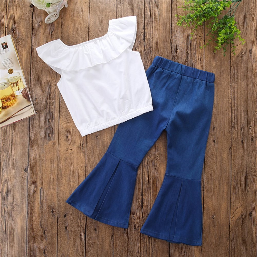 KIDSA 1-6T Toddler Baby Little Girls Clothes Ruffles Off Shoulder Tops + Bell-Bottom Thin Denim Jeans Pants Outfits Set by KIDSA (Image #2)
