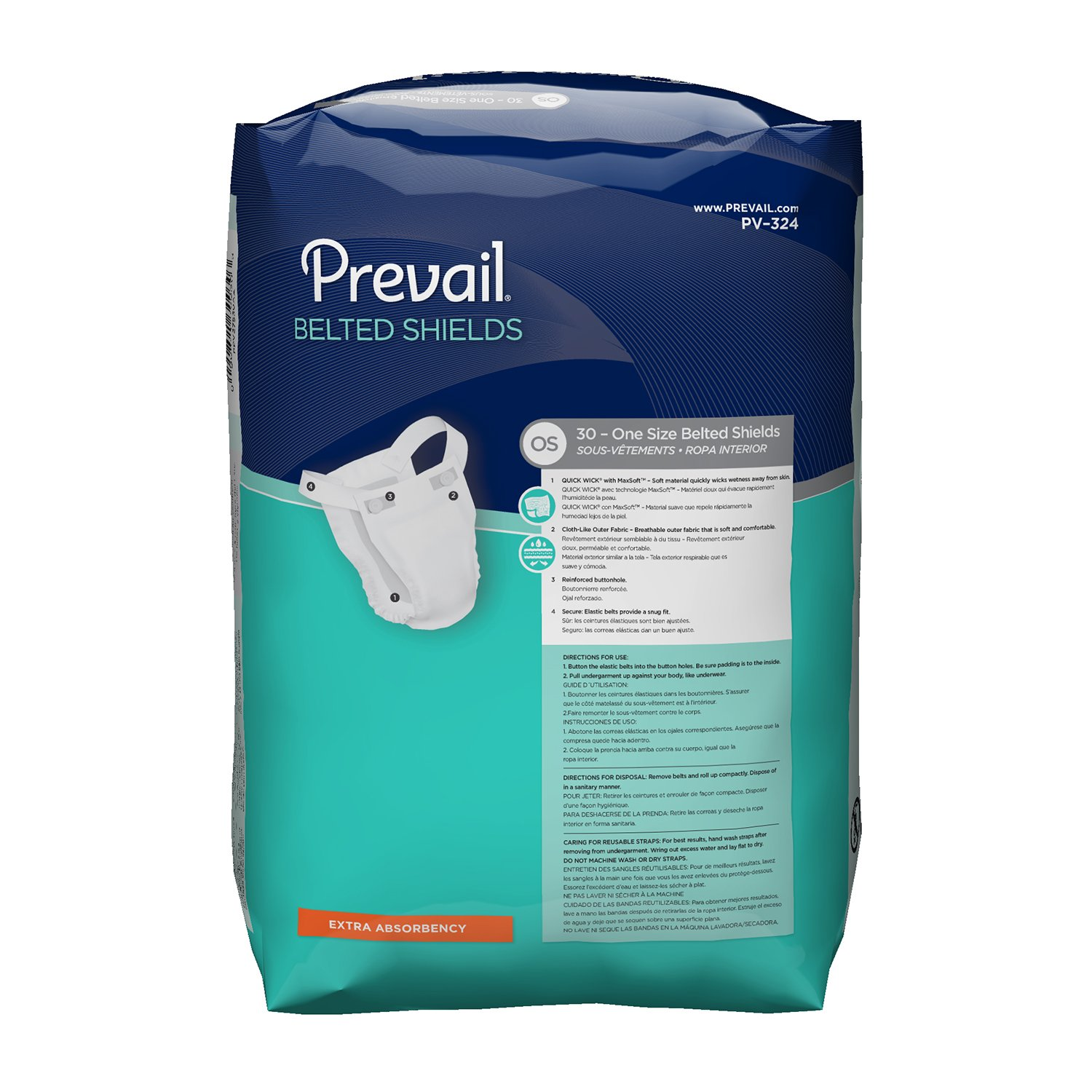 Prevail Extra Absorbency Incontinence Belted Shields, 120 Total Count by Prevail (Image #2)
