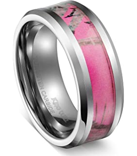king will 8mm tungsten carbide ring womens camo hunting camouflage wedding band pink tree - Mens Camo Wedding Rings