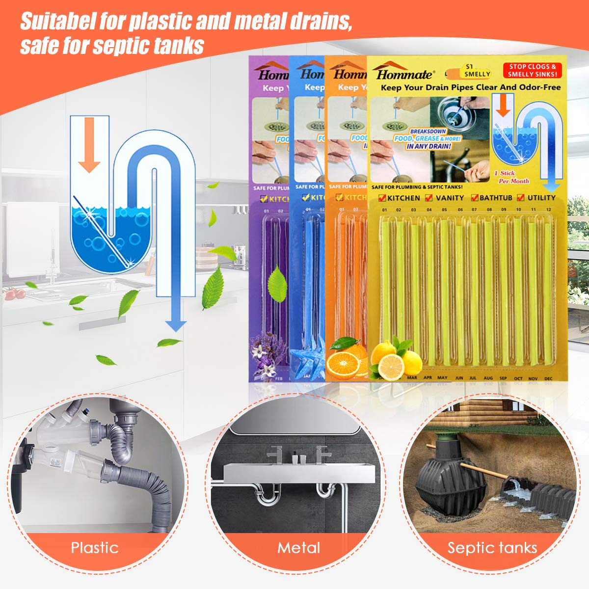 Drain Sticks Drain Stix Drain Cleaner & Deodorizer Sticks Drainstix for Clogs Kitchen Bathroom Sinks Unclog Eliminate Odor Septic Tank Safe As Seen On TV Non-Toxic 48pcs 4 Color