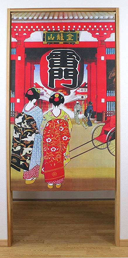 Narumi narumikk noren Geisha Girls at Kaminarimon 85cm x 150cm from Japan 14270 14-270 Japanese Curtain