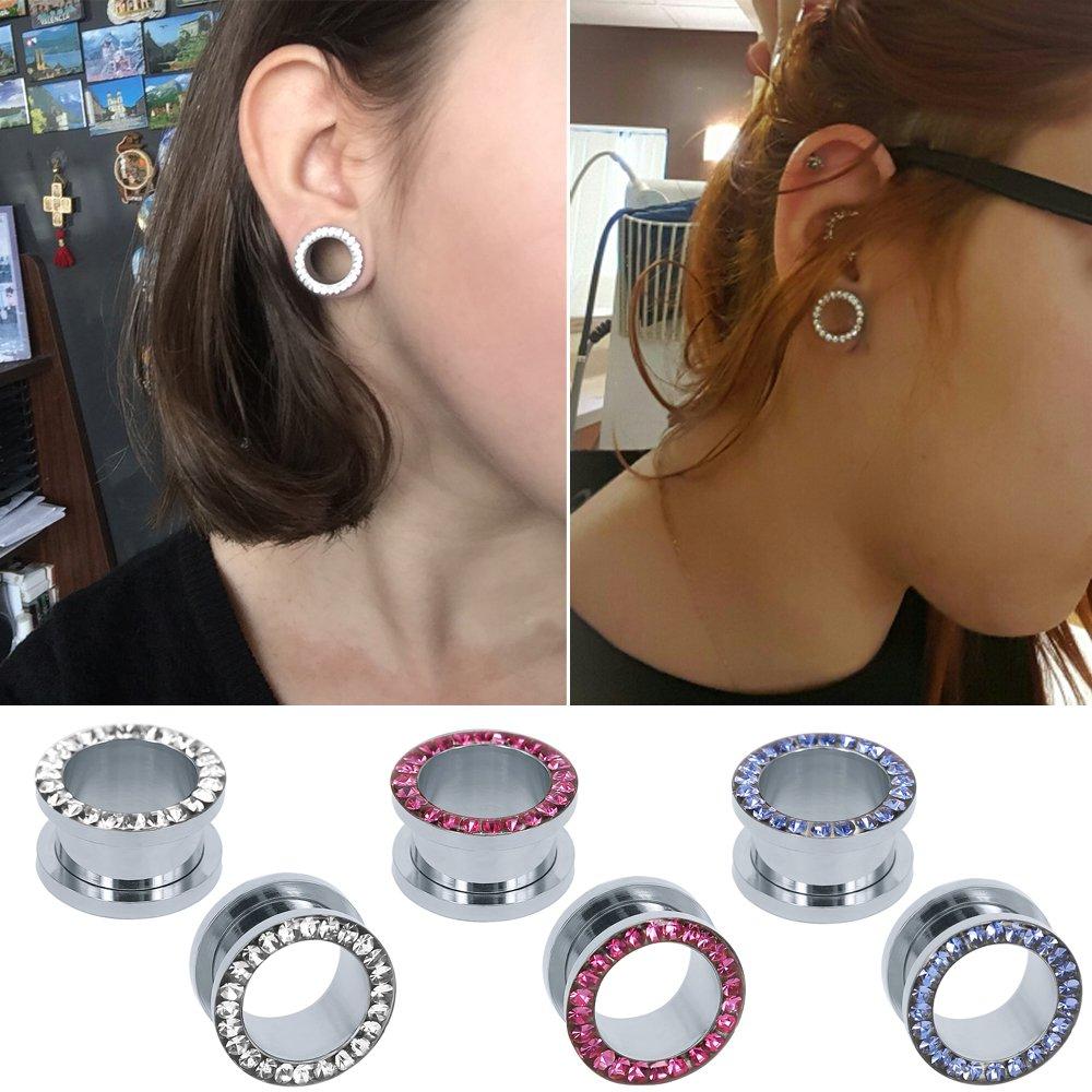 316L Stainless Steel Rhinestone Crystal Ear Tunnel Plugs Ear Gauges Expanders Body Piercing