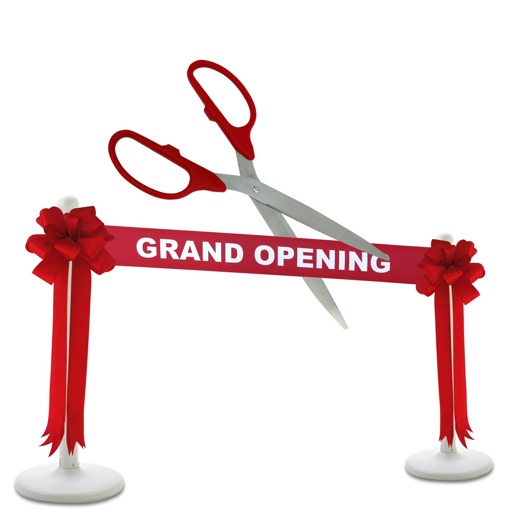 Deluxe Grand Opening Kit - 36'' Red/Silver Ceremonial Ribbon Cutting Scissors with 5 Yards of 6'' Red Grand Opening Ribbon, 2 Red Bows and 2 White Plastic Stanchions